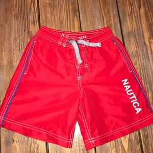 Boys Nautica Size 4 Red Swim Trunks.